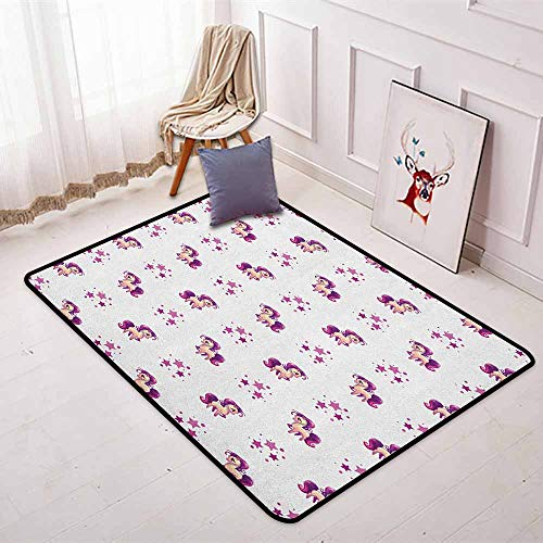 (Girls Super Soft Round Home Carpet Little Mythical Horse Pony Unicorn with Stars and Dots Fantasy Theme Artwork Print for Sofa Living Room W47.2 x L63 Inch White Violet)