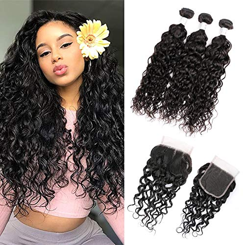 Dream Like (16 18 20+14) 10A 100% Unprocessed Brazilian Virgin Hair 3 Bundles Water Wave With 4×4 Lace Closure Hair Extensions Human Hair Bundles Natural Color Can Be Dyed from Dream Like