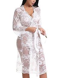 87fb3062ab Women Lace Kimono Robe Babydoll Lingerie Chemise Sexy Sleepwear with Bra  Set · FasiCat