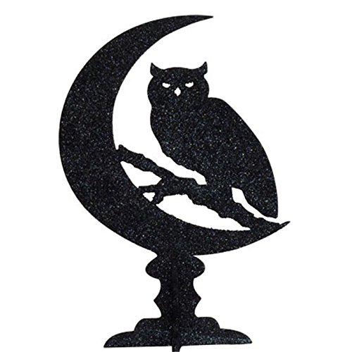 IHI Black Glitter Owl Centerpiece