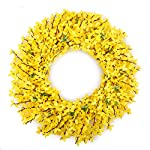 BOMAROLAN-Artificial-Forsythia-Wreath-19-Inch-Summer-Fall-Large-Wreaths-Springtime-All-Year-Around-Flower-Green-Leaves-for-Outdoor-Front-Door-Indoor-Wall-Or-Window-Dcor