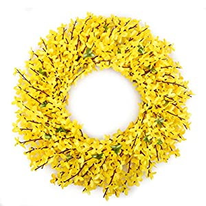 BOMAROLAN Artificial Forsythia Wreath 19 Inch Summer Fall Large Wreaths Springtime All Year Around Flower Green Leaves for Outdoor Front Door Indoor Wall Or Window Décor