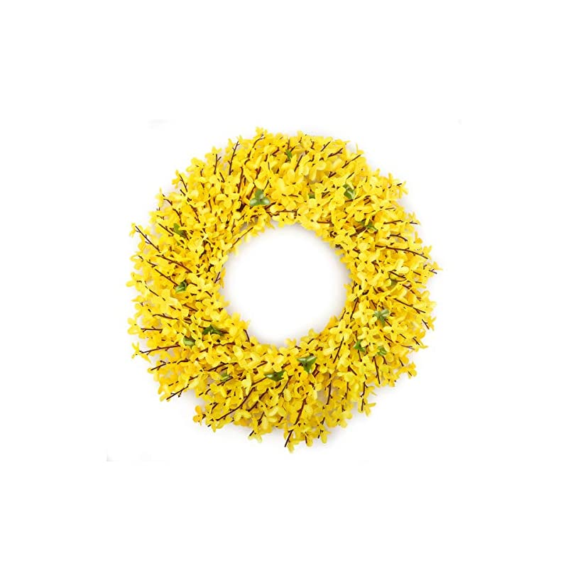 silk flower arrangements bomarolan artificial forsythia wreath 18 inch(packing size: 14 inches) summer fall large wreaths springtime all year around flower green leaves for outdoor front door indoor wall or window décor