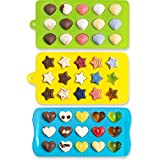 Candy Molds & Silicone Chocolate Mold   Jello & Ice Cube Trays   Set of 3   Non Stick & BPA Free   Hearts, Stars & Shells - by Lucentee