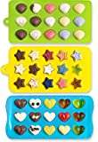 Candy Molds & Silicone Chocolate Mold | Jello & Ice Cube Trays | Set of 3 | Non Stick & BPA Free | Hearts, Stars & Shells - by Lucentee