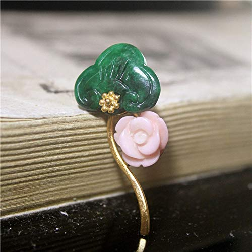 THTHT Brooch Pendant Dual-Use Shell Flower Women's Accessories Cyan Jade Carvings Wishful Lock Handmade Corsage Vintage Exquisite High-End Jewelry Luxury