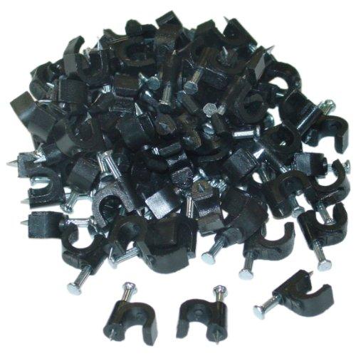 RG6 Cable Clip, Black (100 pieces per bag)