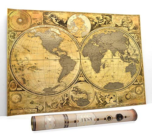 Scratch World Travel Map Scratch Off Map Hemisphere Antique Anchient Old map poster 16 x 24 Premium Bussines map Detailed Wall map Push Pin Usa map and Caribbeans in Tube (Hemispheres Map)