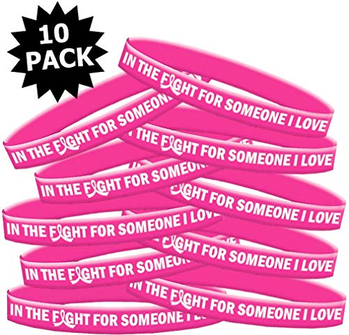 in The Fight for Someone I Love Breast Cancer Wristband Bracelet 10-Pack (Pink) ()
