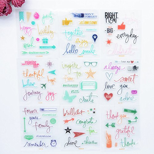 Welcome to Joyful Home 9 Pieces Planner Journaling Design Rubber Clear Stamp for Card Making Decoration and Scrapbooking