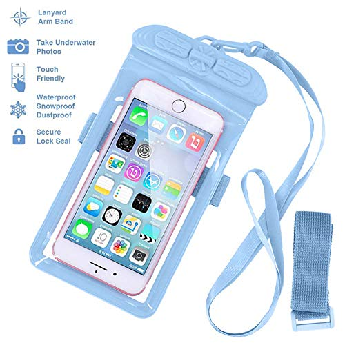 Ipod Waterproof Armband - Waterproof Phone Case Dry Bag with Armband and Lanyard, Tested 30m Underwater, Fits Oneplus Pro7 6t iPhone X XR XS 8 Plus Samsung S10 S9 Huawei P30 Mate 20 Pro(7x4) (Blue)