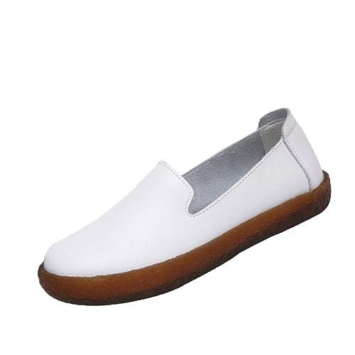 Gtagain Mujeres Cuero Casual Mocasines - Plano Suave Trabajo Perezoso Zapatillas para Caminar Respirable Calentar Ballet Sencillo Zapatos: Amazon.es: ...