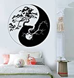 Large Vinyl Wall Decal Yin Yang Tree Zen Asian Style Stickers Mural (ig3676) Black