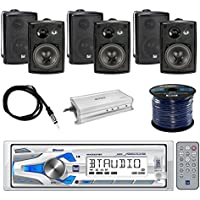Dual Single-DIN In-Dash Marine AM/FM Receiver with Bluetooth with Dual 3-Way In/Outdoor Speakers 100W 3-Pairs, Enrock 4-Chan Marine Amplifier, Enrock 50 16 Gauge Speaker Wire & Enrock Marine Antenna
