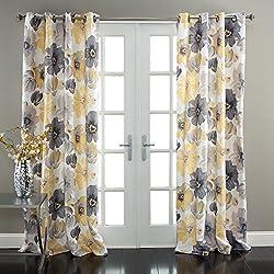 Lush Decor Leah Room Darkening Window Curtain Panel Pair, 84 inch x 52 inch, Yellow/Gray, Set of 2
