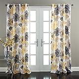 "Lush Decor Leah Window Curtain Panel (Set of 2), 84"" x 52"", Yellow/Gray"