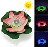 URToys Red Waterproof LED Solar Lotus Lantern Water Float Pond Light 7 Color Changing Yard Garden Pool Night Light Creative Gift for Christmas Landscape Decoration
