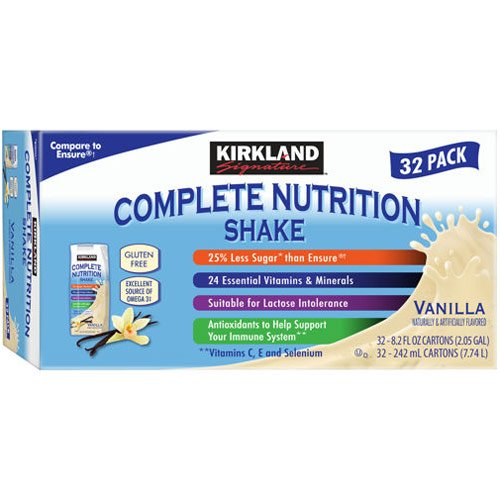 Kirkland Signature Complete Nutrition Shakes, 32-pack, 8.2 fl. oz. (Vanilla)