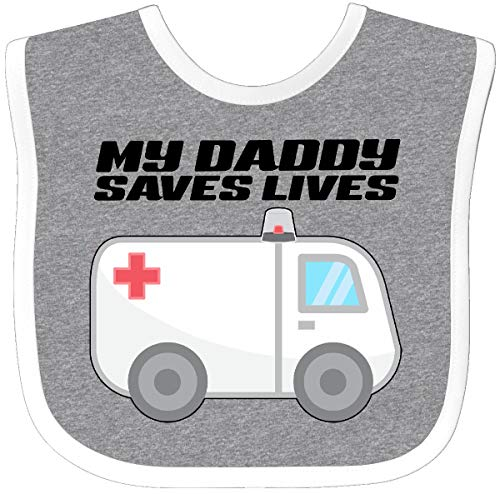 Inktastic - My Daddy Saves Lives- Ambulance Baby Bib Heather/White 301f7