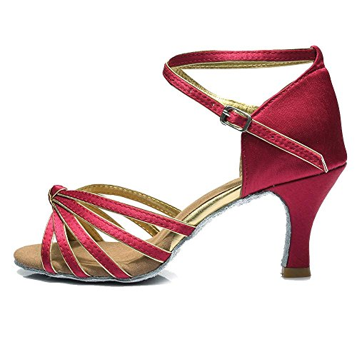 heeled Satin Latin Ballroom YFF shoes 7CM PU Women shoes dancing Dark Red dancing 7CM 4dZaaqzn