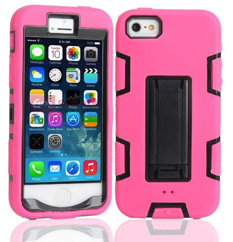 iPhone 5 5S SE Shockproof Custodia,Heavy Duty Nero Rosa PU & PC Urti Assorbimento Case Robusto Back Paraurti Caso Armatura ibrida Kickstand Protettiva Case Shell Cover per iPhone 5 5S SE