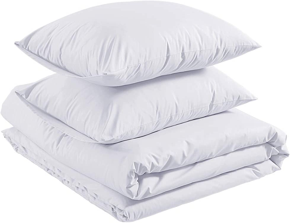 AmazonBasics Sateen 400TC Cotton Duvet Comforter Cover Set, Full / Queen, White
