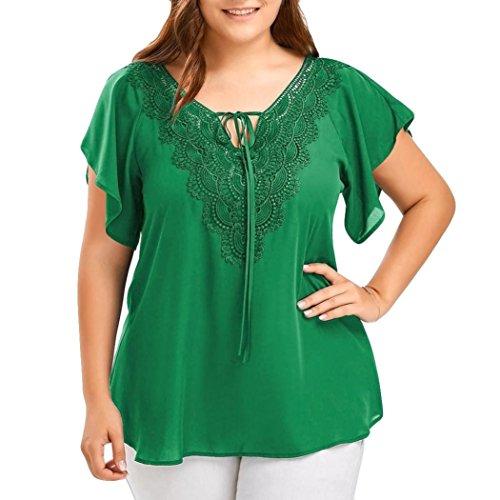 Blouse Grande Femmes Femmes Camisole shirt Bat Manches Courtes Tops Aux Taille LMMVP en LMMVP Dentelle Femme vert Courbe T wFx0Egtq