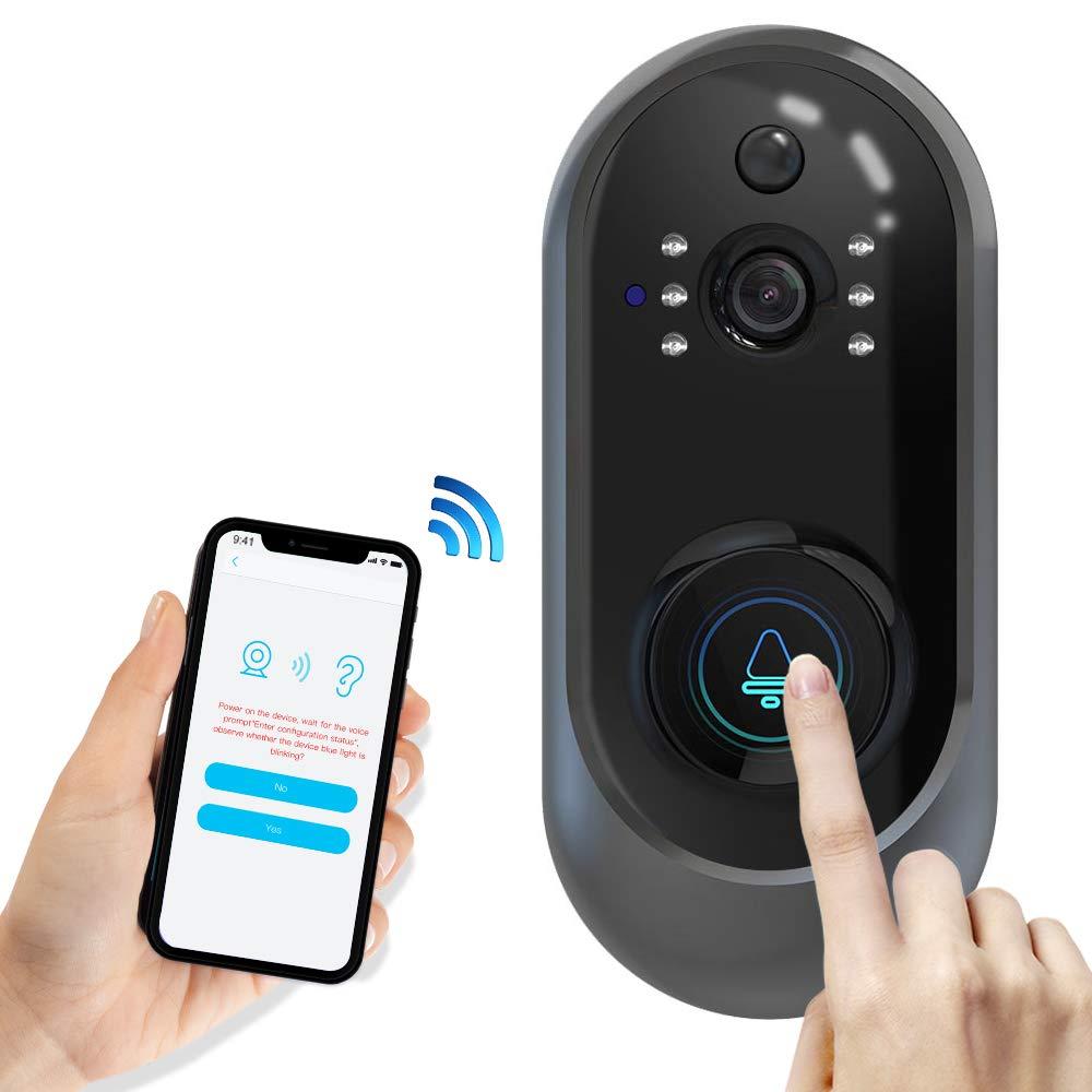BMK Video Türklingel Wireless Türklingel Intercom Sicherheitssystem 1280 x 720HD Intelligente Türklingel Zwei-Wege-Audio, 166 Grad Blickwinkel, PIR-Bewegungserkennung für iOS und Android