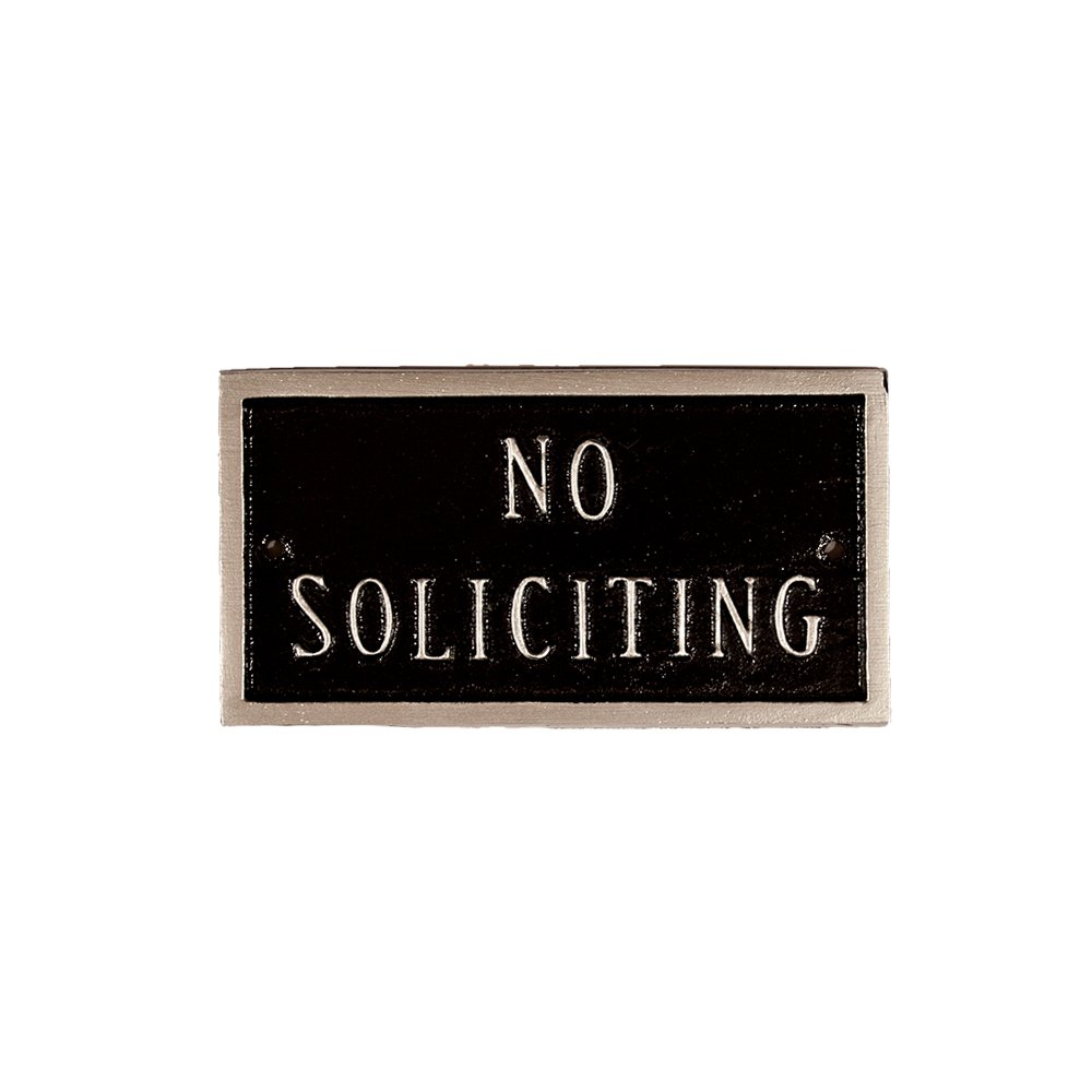 Montague Metal Products 5.75 by 3-Inch No Soliciting Plaque, Petite, Black/Silver