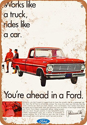 Wall-Color 9 x 12 Metal Sign - 1967 Ford Pickup Trucks - Vintage Look ()