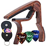 #9: Guitar Picks Guitar Capo Quick Change Acoustic Guitar Accessories Capo Key Clamp With Free 6 Pcs Guitar Picks and Black Leather Guitar Picks Holder (Rosewood Color)