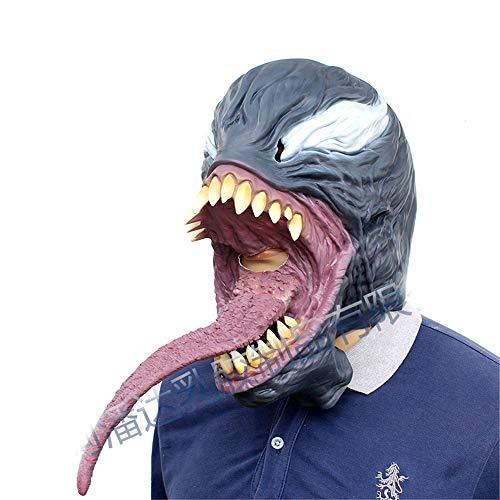 BaronHong Venom Cosplay Halloween Party Realistic Latex Headgear 3D Mask(Black,M) -