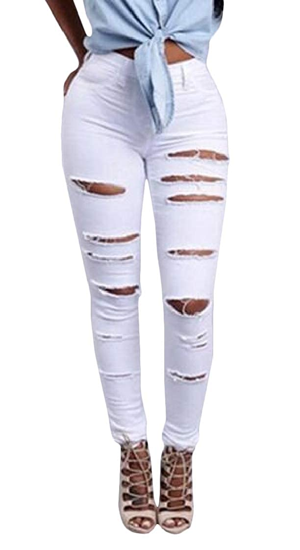 Etecredpow Womens Bodycon Vogue Pencil High Waist Hole Denim Jeans Pants