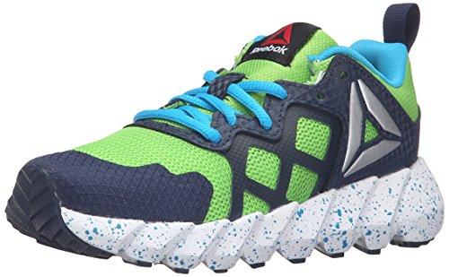 Price comparison product image Reebok Kids' Exocage Athletic-K Track Shoe, Semi Solar Green/Navy/Wild, 4 M US Big Kid