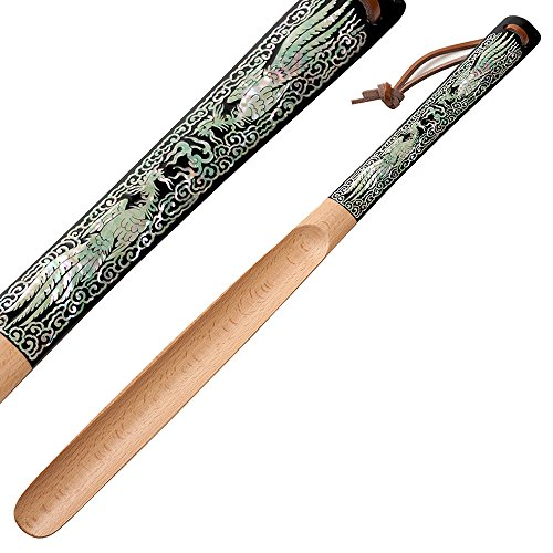Mother Black Horn Of Pearl (Mother of Pearl Inlay Art Double Phoenix Design 20 Inch Long Wooden Black Handled Shoe Horn Shoehorn with Leather String for Hanging)