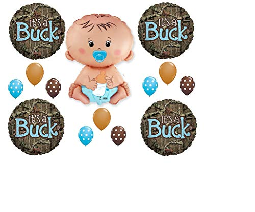 - MONKEYDOG PARTY 14 pc. Set It's A Buck Camouflage Baby BOY Shower Balloons Decoration Mossy Oak Gender Reveal