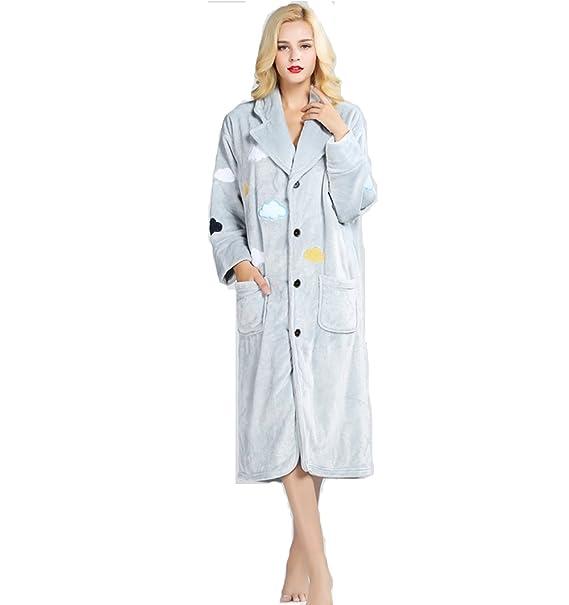 Las mujeress albornoces de terciopelo más gruesas cálidas túnicas largas pijamas bordados ropa de dormir-