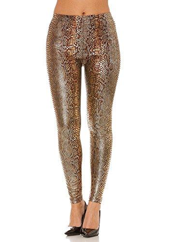 dmarkevous - Leggings métallisé marron et doré brillant effet python - XL-XXL, or