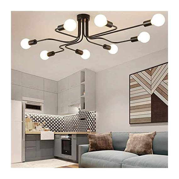 Lingkai Industrial Ceiling Light Vintage Chandelier Metal Pendant Light Creative Retro 8-Light Chandelier Lighting Fixture - ●MATERIAL & DIMENSIONS - Made of metal. Fixture Width: 27.56in (70cm). Fixture Height: 6.3in (16cm). Fixture Length: 43.31in (110cm). Canopy width: 4.72in (12cm) ●BULBS - Bulb Type: LED/CFL/Incandesce. Bulb Base: E26. Wattage Per Bulb: Max 40W. (★The Bulbs are NOT Included) ●EASY INSTALL - Includes all mounting hardware for quick and easy installation. The pendant light design will add a fashionable look, while complementing your room's decor. - kitchen-dining-room-decor, kitchen-dining-room, chandeliers-lighting - 51sooBxUy8L. SS570  -