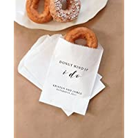 Donut Mind If I Do Wedding Donuts Bags, Fall Wedding Doughnuts, Autumn Wedding, Cider and Donuts, Dessert Table - Personalized - Lined, Grease Resistant Set of 25