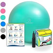 Exercise Ball - Professional Grade Anti-Burst Fitness, Balance Ball Pilates, Yoga, Birthing, Stability Gym Workout Training Physical Therapy