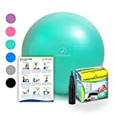 Exercise Ball – Professional Grade Anti-Burst Fitness, Balance Ball Pilates, Yoga, Birthing, Stability Gym Workout Training Physical Therapy
