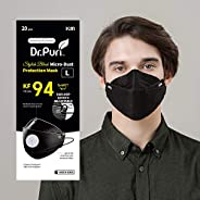 [20 Pack] Dr.Puri New Micro-Dust Protection Face Premium Mask (KF94) Black Large with adjustable length earloo