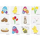 Konsait 7 Pack Plush Bunny Ears Hairbands Rabbit Ears Headband and 7 Sheets Easter Temporary Tattoos for Easter Party Favor or Costume Decoration