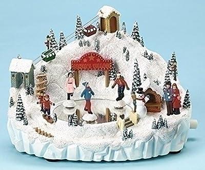 "8.25"" Amusements LED Lighted Animated and Musical Skating Pond B/O Christmas Table Top Decoration"