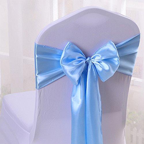 10PC 17X275CM Satin Chair Bow Sash Wedding Reception Banquet Decoration #10 Light (Chair Bows For Weddings)