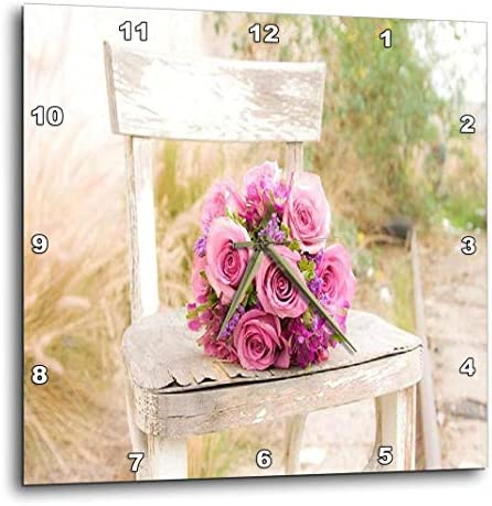 3dRose DPP_98629_1 Shabby Chic Image with Country Chair N Pink Roses Jpg Wall Clock, 10 by 10