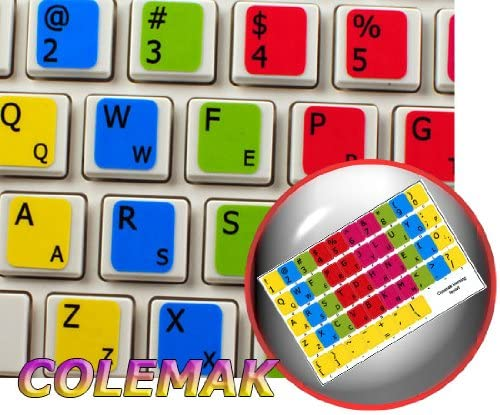 Colemak with Yellow Letters Transparent Computer Labels for Keyboards