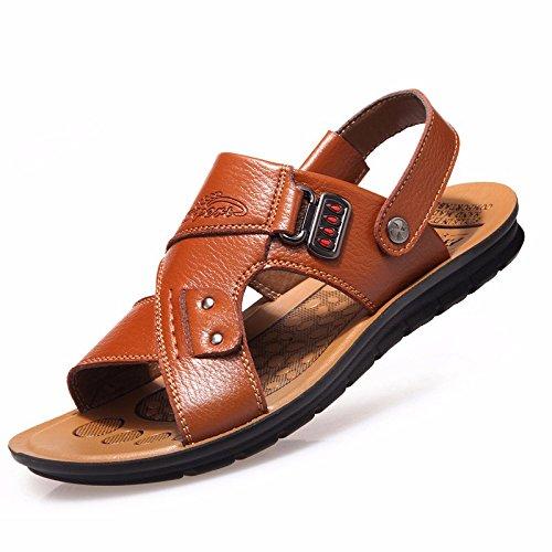 Echtleder Sandalen Männer Das neue Männer Strand Schuh Sommer Freizeit Atmungsaktiv Jugend Sandalen Rutschfest ,Gelb,US=9,UK=8.5,EU=42 2/3,CN=44