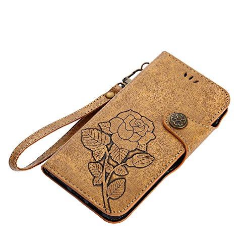 Hülle für iPhone X,Hülle für iPhone X Retro Blume Frauen,BtDuck Ultra Slim Tasche Vintage Brieftasche Handyhülle Ledertasche Flip Cover Schutzhülle für iPhone X Cover mit Magnetverschluss Kartenfach u iPhone X-Braun